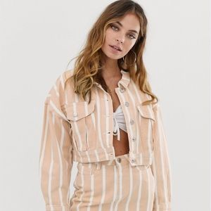 Missguided Petite denim jacket in stripe